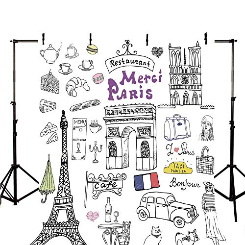 Doodle Stylish Backdrop,Paris Culture in Doodle Style Drawing Eiffel Tower Beret Croissant Blue Cheese Taxi for Photography,59