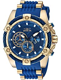 Mens Bolt Quartz Stainless Steel and Silicone Casual Watch, Color:Blue (