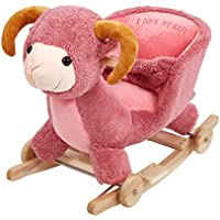 KARMAS PRODUCT Kids Plush Rocking Horse with Wheels Lovely Sheep Shape Pink