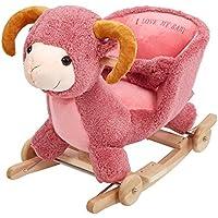 KARMAS PRODUCT Kids Plush Rocking Horse with Wheels Lovely Sheep Shape Pink