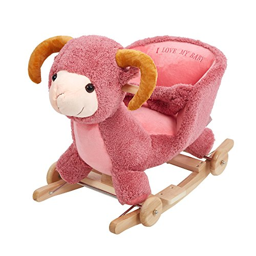 Dporticus Child Rocking Horse Plush Sheep Rocker Toy with Wheels and Seat Belt Wooden Rocking Horse/Kid Rocking Toy/Baby Rocking Horse/Rocker/Animal Ride On