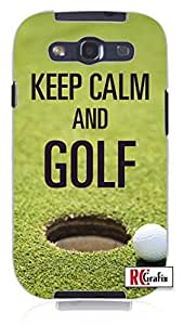 Keep Calm and Golf Unique Quality Rubber Soft TPU Case for Samsung Galaxy S3 SIII i9300 (WHITE)