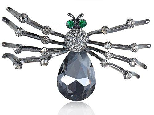 Alilang Womens Gunmetal Tone Grey Halloween Spider Tarantula Brooch Pin