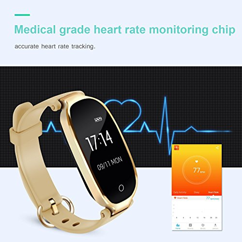 AGPTEK Lady Fitness Tracker,Smartwatch Activity Tracker Heart Rate Monitor Smart Bracelet Waterproof IP67, Bluetooth Pedometer Wristband with Sleep Monitor for Android&IOS, Black