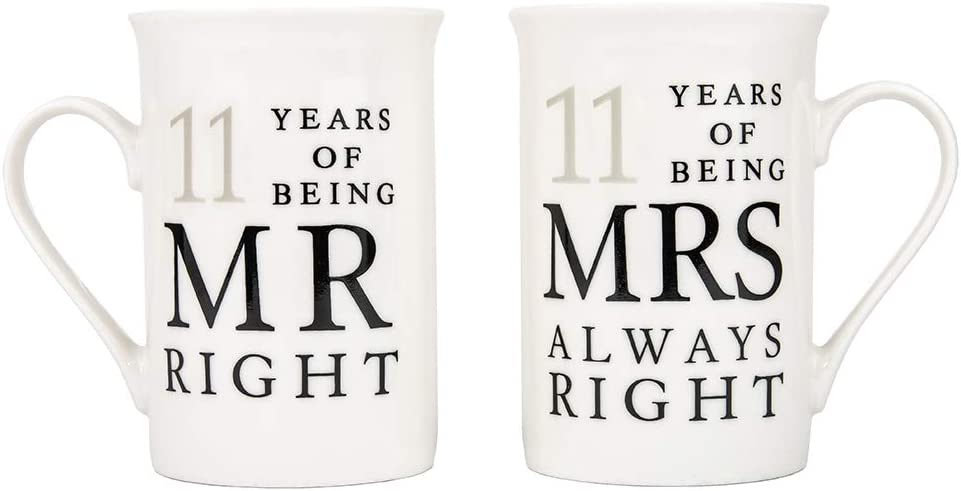 Haysoms Ivory White 11th Anniversary Mr Right & Mrs Always Right Ceramic Mugs Gift Set Thoughtful and Unique Gift Idea Dishwasher and Microwave Safe | FDA Tested