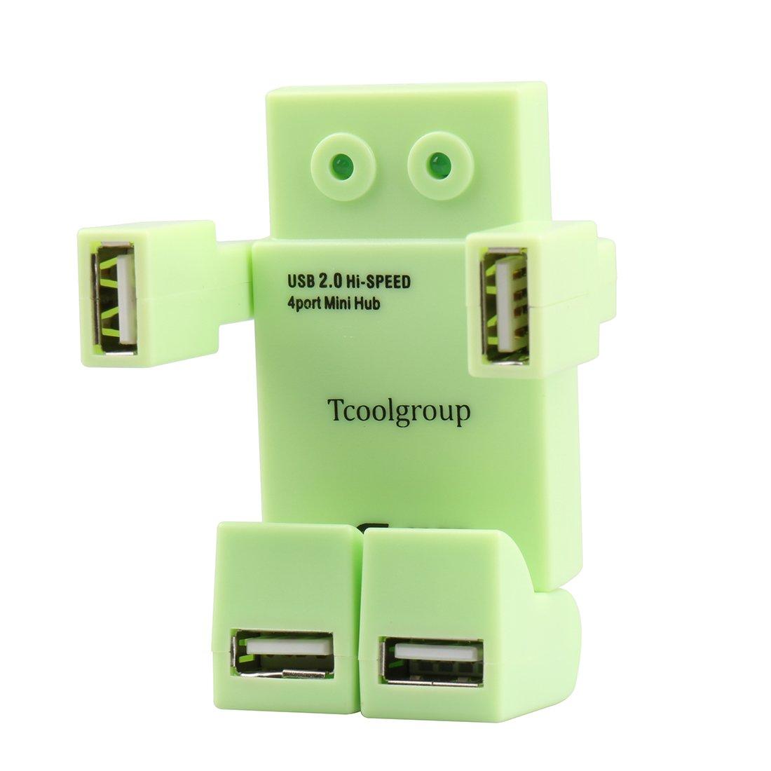 Tcoolgroup Robot Hi Speed 4 Port Usb Hub For Windows Xp 4port Vista 7 8 Linux Mac Os Desktop Pc Laptop Including A Mini Cable
