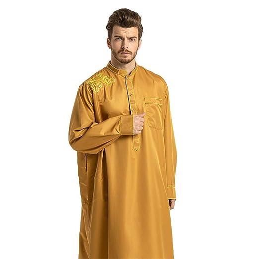 NPRADLA Large Falda Hombres túnicas étnicas de Manga Larga islámica musulmán Oriente Medio Maxi Vestido Kaftan Partido Elegante Moda Amarillo L: Amazon.es: ...