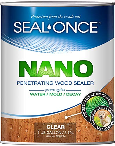 SEAL-ONCE NANO Penetrating Wood Sealer & Stain - 1 Gallon. Water-based, Low-VOC waterproofer for fences, siding, beams, outdoor furniture & log homes. (Best Wood Stain And Sealer)