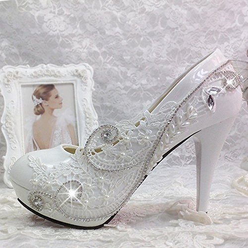 JINGXINSTORE Lace Weiß Weiß Weiß Crystal Hochzeit Schuhe Braut Weiß 2d215d