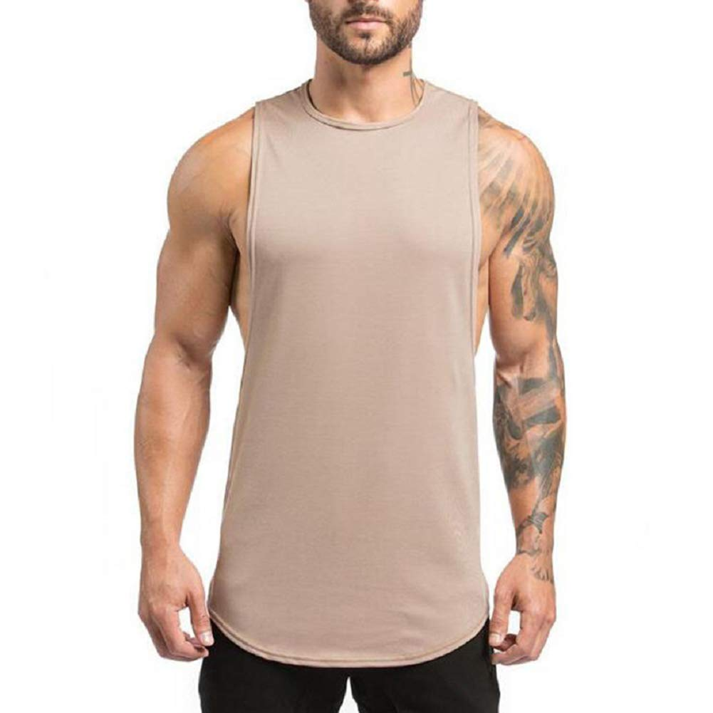 ZUEVI Men's Muscular Cut Open Sides Bodybuilding Tank Top(ZKhaki-S)