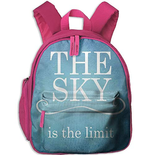 Haixia Youth Boys'&Girls' Bookbag with Pocket Quotes Decor The Sky is The Limit Typography Motivational Quote Simple Design Illustration Full Blue White