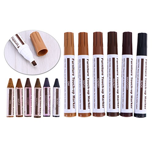 OUNONA 12 in 1 Wooden Furniture Scratching Repair Touch Up Paint Pens Crayons Worn Blemish Concealing Tool Set