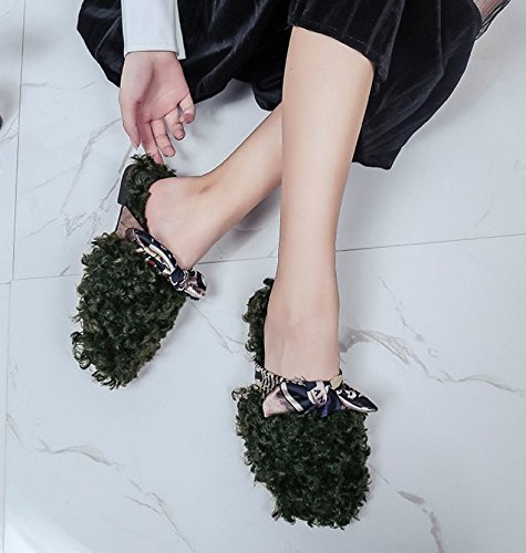 Fankou la caduta del fiore rotto il filtro Bow Tie Baotou pantofole scarpe piatte semi-trascinare e di marea ,40, verde