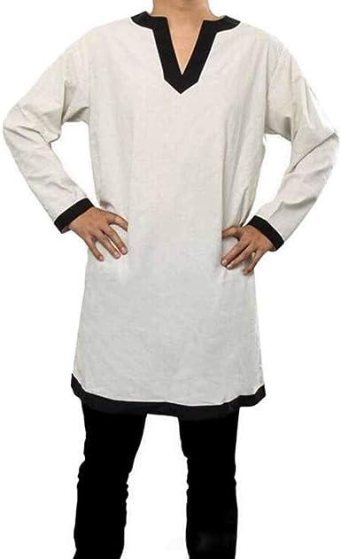 Disfraces Medievales para Hombre Camisa Pirata Cosplay Blusa vikinga de Manga Larga Tops con cinturón: Amazon.es: Ropa y accesorios