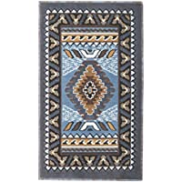 Rugs 4 Less Collection Southwest Native American Indian Door Mat Area Rug Design R4L 143 Light Blue (2X34) Door Mat