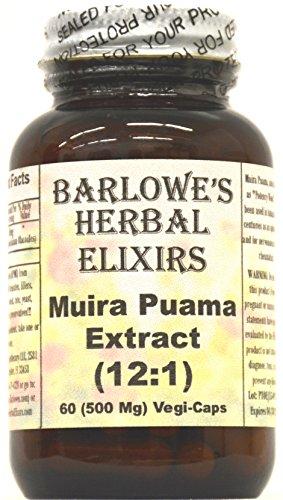 Muira Puama extrait 12:1 - 60 500 mg VegiCaps - stéarate de libre, mis en bouteille en verre