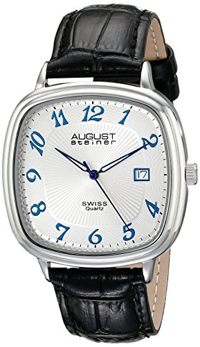 August Steiner Men's AS8155SS Silver Swiss Quartz Watch with White Dial and Black Calfskin Leather Strap (Crocodile Square Watch)