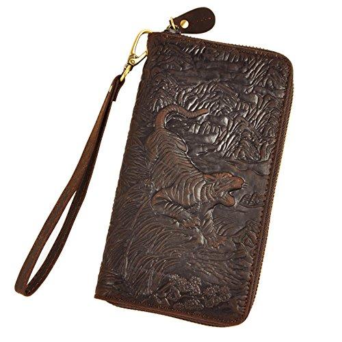Clutch Tiger (Le'aokuu Mens enuine Leather Clutch Hand Bag Organizer Checkbook Zipper Wallet (Dark Brown Tiger))