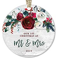 "Rustic Mr & Mrs Ornament 2019 First 1st Christmas Married Bridal Shower Gift Newlyweds Bride Groom Farmhouse Ceramic Keepsake Present 3"" Flat Circle Porcelain with Gold Ribbon & Free Box"