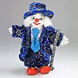 Clown Figurine - Purple Suit & Cane, Hand-Painted, Posable, Porcelain, 6 Inch Height