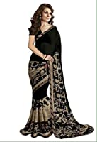 Harikrishnavilla Sarees for women party wear Designer Today best offers buy online in Low Price Sale Black & Beige Color Georgette Fabric Free Size Ladies Sari Blouse