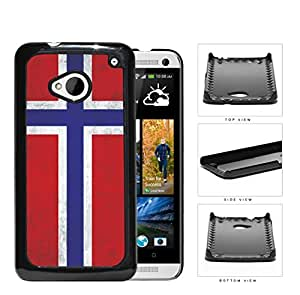 Norwegian Flag Dirty Grunge Hard Plastic Snap On Cell Phone Case HTC One M7