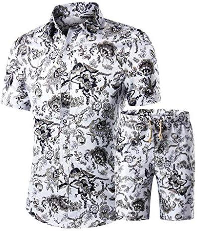 Jincheng665 プリントtシャツ セットアップ 花柄 ルームウェア ワイシャツ プリント 印刷 ショート丈 ボタン トレーナー カジュアル ウエストゴム 韓国 ビーチシャツ 半袖 シャツ