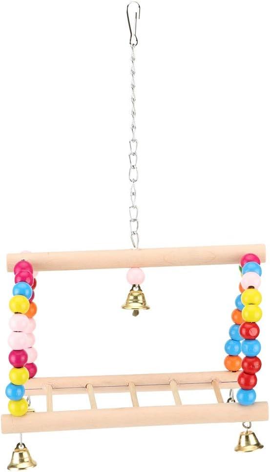 Ichiias Loros Perca Cuadrado de Madera Mascota Escalada Columpio Colgante Escalera Bastidor de pie Poste: Amazon.es: Productos para mascotas