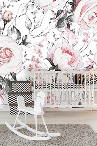 Removable Wallpaper Mural Peel & Stick Watercolor Vintage Floral Art Pink Flowers and Leaves on White Background (124W x 124H Inches) ()