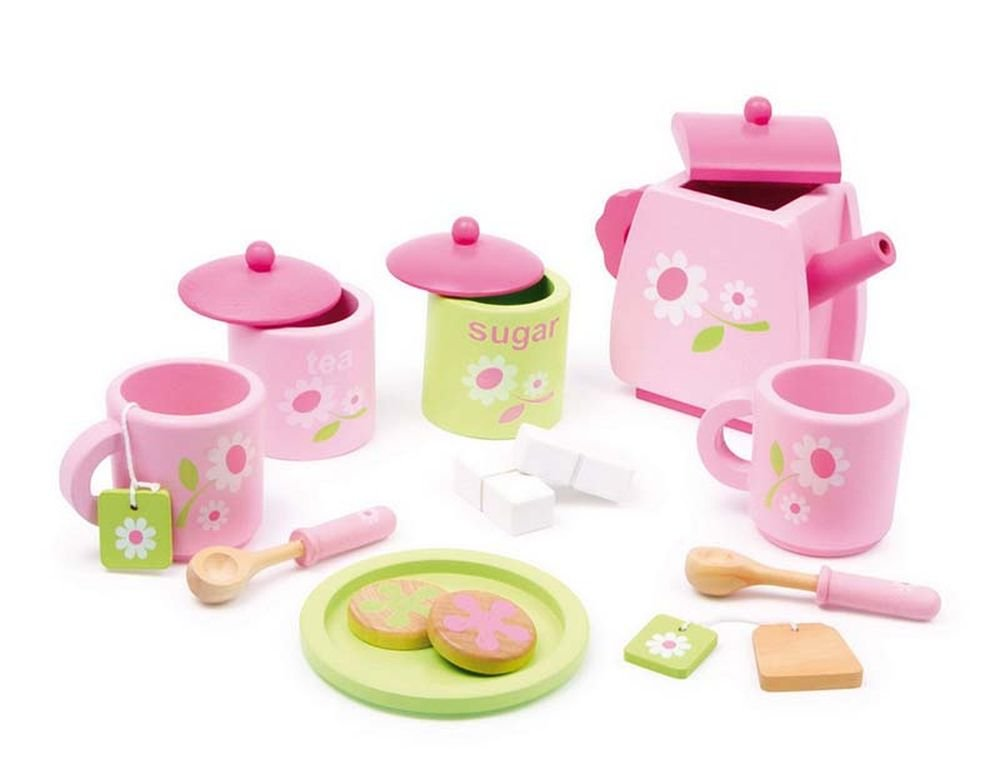 Small Foot 2849 Children Tea Set Flower Pattern Made of Wood, Accessories for The Children's Kitchen, 17 pcs