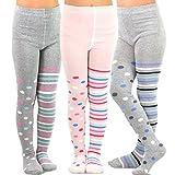 TeeHee Kids Girls Fashion Cotton Tights 3 Pair Pack (3-5 Years, Multi Dots & Stripes)