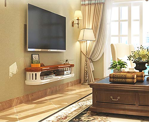 (Wall Mounted Floating Shelf Small Apartment Simple Modern Wall Hanging TV Cabinet Bedroom Wall Hanging Cabinet Hanging Wood Set-top Box Rack (Color : 82cm Rosewood Pattern))