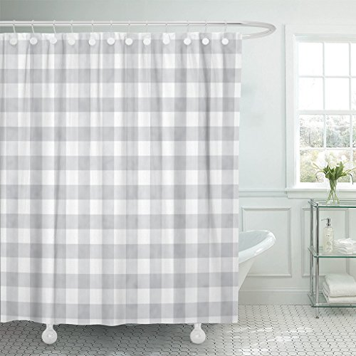Emvency Shower Curtain Pattern Gray Gingham That is