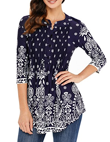 joyliveCY Womens V Neck 3/4 Sleeve Pleated Tunic Top Navy Blue Tunic Blouse Boho Shirts M Navy Blue Flowered