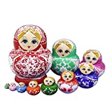 Set of 10 Big Bulky Colorful Red Porcelain Basswood Wooden Traditional Russian Nesting Dolls Matryoshka Kids Stacking Toys Christmas Birthday Festival Gifts
