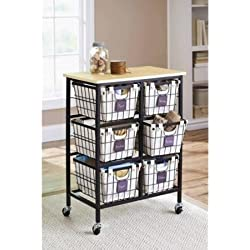 Better Homes and Gardens 6-Drawer Wire Cart, Black