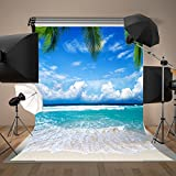 Maijoeyy 5x7 Beach Backdrop for Photography Seaside Palm Tree Photo Backgrounds for Wedding Summer Party Studio Backdrop Background