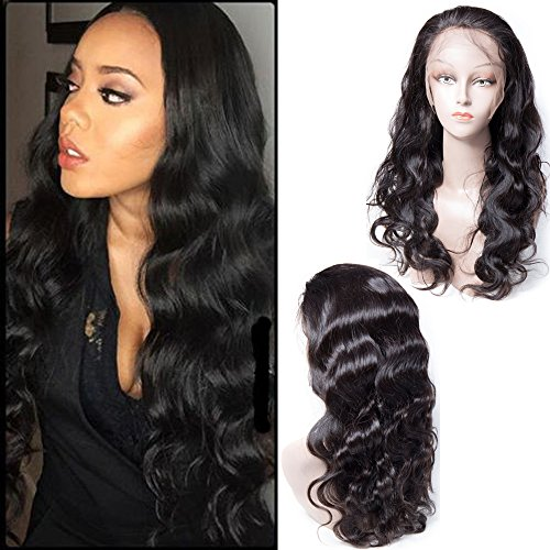 Maxine Natural Hairline 130% Density Human Hair Wigs Body Wave Brazilian Lace Front Wig With Baby Hair Bleached Knots Virgin Remy Human Hair with Adjustable Straps 14 inches