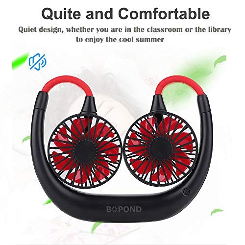 Portable Neck Fan USB Rechargeable Mini Hand Free Personal Fan 2000mA 3 Adjustable Speed Wearable Neckband Fan for Camping Traveling Office Room