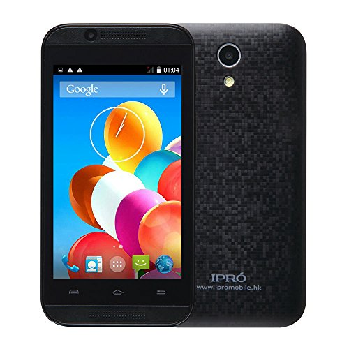 IPRO Wave 4.0 MTK6572 4inch 512M RAM 4GB ROM Dual Core Dual SIM 2G GSM/3G WCDMA Smartphone Celular Android 4.4 Unlocked Mobile Cellphone w/ 0.3MP+2MP Front/Back Camera for Women/Men (Black)