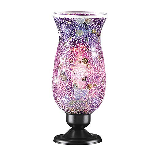 Collections Etc Mosaic Glass Tabletop Accent Lamp with Black Metal Base - Home Décor for Any Room, Purple