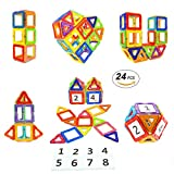 Toys : Magnetic Blocks STEM Educational Toys Magnet Building Block Tiles Set for Boys and Girls by Coodoo-24pcs