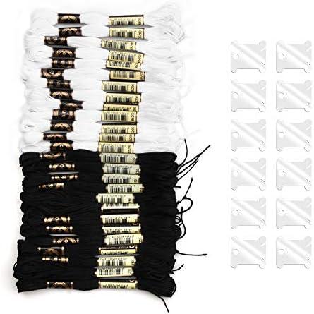 Onepine 100 Skeins Stickgarne darunter 50 Schwarz und 50 Wei/ß Stickgarne aus 100/% Baumwolle mit 25 St/ück Floss Spulen perfekt f/ür Freundschaftsb/änder und Zum N/ähen von Stickereien