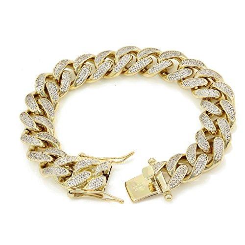 14k Real Gold Mens Bracelet - 15mm 8.5