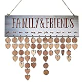 Wall Hanging Birthday Anniversary Wooden Calendar DIY Sign Special Dates Planner Board Family Home Decor Family Friend