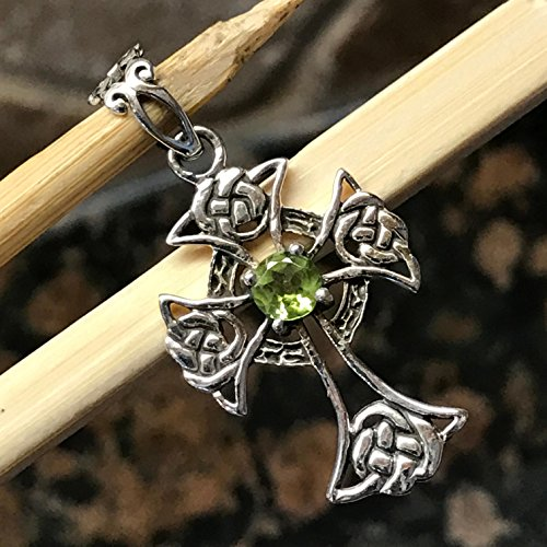 Natural Apple Green Peridot 925 Solid Sterling Silver Cross Pendant 32mm