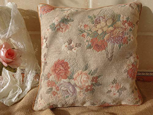 Fine Home Crafts English Country Antique Muted Color Vintage Rose Floral Bunch Needlepoint Pillow Cover