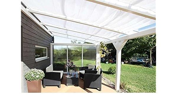 Cabaña Madera Toldo 6 unidades para Profundidad 300 cm, color blanco: Amazon.es: Jardín