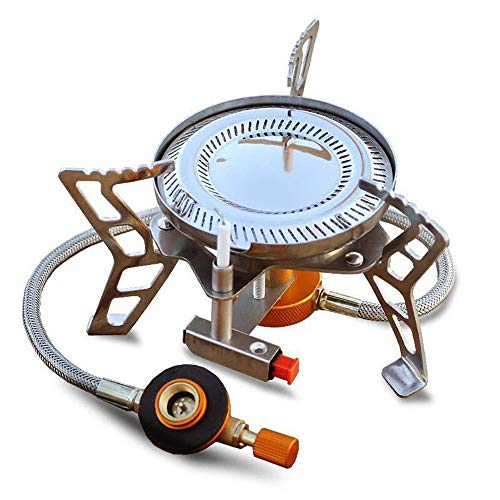 WJQ Split Type Gas Stove - Windproof Burner, Double Ring Fire Durable Energy Saving Portable - Very Suitable for 3-5 People Outdoor Hiking Camping Trip