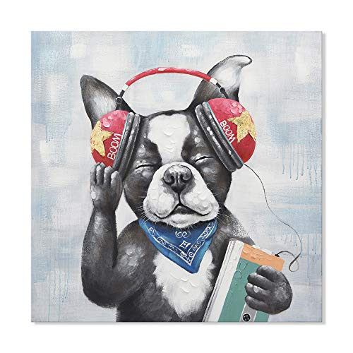 - SEVEN WALL ARTS - 100% Hand Painted Oil Paintings Canvas Wall Art Colorful Dog Animal Modern Abstract Artwork Painting for Living Room Bedroom Office Home Decoration (24 x 24 Inch, Puppy with Headset)